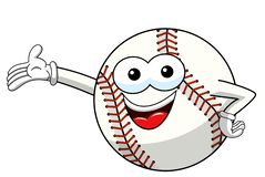 Baseball ball character mascot cartoon presenting vector isolated. On white stock illustration
