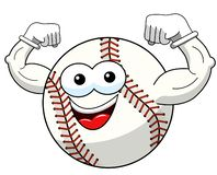 Baseball ball character mascot cartoon showing biceps vector isolated. On white stock illustration