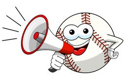Baseball ball character mascot cartoon speaking megaphone vector isolated. On white royalty free illustration