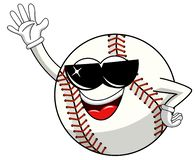 Baseball ball character mascot cartoon sunglasses greeting vector isolated. On white vector illustration