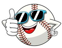 Baseball ball character mascot cartoon sunglasses thumb up gesture vector isolated. On white royalty free illustration