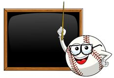 Baseball ball character mascot cartoon teacher blank blackboard or chalkboard vector isolated. On white stock illustration
