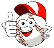 Baseball ball character mascot cartoon thumb up cap vector isolated. On white stock illustration