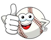 Baseball ball character mascot cartoon thumb up gesture vector isolated. On white stock illustration