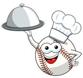 Baseball ball character mascot cartoon tray cook vector isolated. On white vector illustration