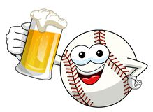 Baseball ball character mascot cartoon vector beer mug isolated. On white royalty free illustration