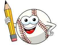 Baseball ball character mascot cartoon vector holding pencil isolated. On white vector illustration