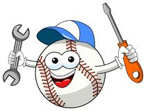Baseball ball character mascot cartoon vector repairman isolated. On white royalty free illustration