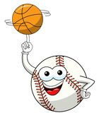 Baseball ball character mascot cartoon vector spinning basketball ball isolated. On white royalty free illustration