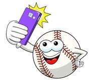 Baseball ball character mascot cartoon vector taking selfie shot smartphone isolated. On white stock illustration