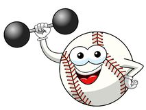Baseball ball character mascot cartoon weightlifter vector isolated. On white stock illustration