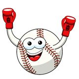 Baseball ball character mascot cartoon winner boxer vector isolated. On white vector illustration