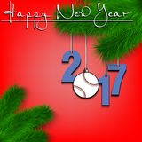 Baseball ball and 2017 on a Christmas tree branch. Happy New Year and numbers 2017 and baseball ball as a Christmas decorations hanging on a Christmas tree Stock Illustration