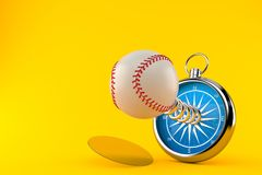 Baseball ball with compass. Isolated on orange background. 3d illustration Stock Image
