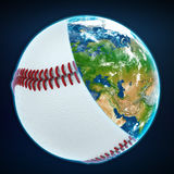 Baseball ball cover the planet earth. sports world Royalty Free Stock Photo
