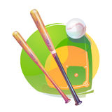 Baseball ball and crossed bats over diamond field Stock Images