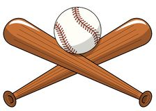 Baseball ball crossed wooden bats logo cartoon vector isolated. On white royalty free illustration
