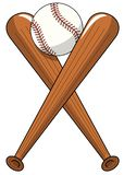 Baseball ball crossed wooden bats logo cartoon vector isolated. On white stock illustration