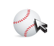 Baseball ball with cursor arrow - sport shopping Royalty Free Stock Images