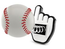 Baseball ball with cursor. Isolated on white background. 3d illustration Royalty Free Stock Photo