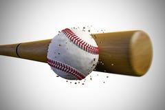 Baseball ball. 3d illustration of a baseball bat smashing a baseball ball Royalty Free Stock Photography