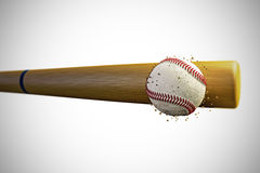 Baseball ball. 3d illustration of a baseball bat smashing a baseball Stock Photography