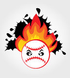 Baseball ball on fire Stock Photo