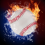 Baseball ball. In fire flames and splashing water Stock Photo