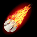 Baseball ball in fire. Baseball in fire flying down.  on dark background. Vector illustration Royalty Free Stock Image