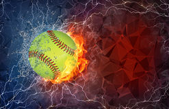 Baseball ball in fire and water. Baseball ball on fire and water with lightening around on abstract polygonal background. Horizontal layout with text space Royalty Free Stock Image