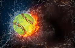 Baseball ball in fire and water. Baseball ball on fire and water with lightening around on black background. Horizontal layout with text space Royalty Free Stock Image