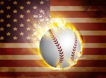 Baseball ball on flag. Baseball ball in fire on usa flag and usa sybols vector illustration Royalty Free Stock Image