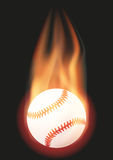Baseball ball with flame. Burning Baseball ball with a tail of flame. Vector illustration Isolated on background Stock Photography