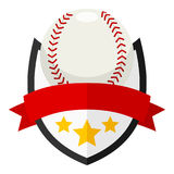 Baseball Ball Flat Logo with Ribbon on White Royalty Free Stock Images