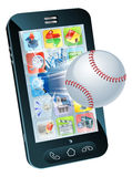Baseball ball flying out of mobile phone vector illustration