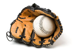 Baseball ball and glove Stock Image