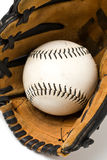 Baseball ball and glove Stock Photos