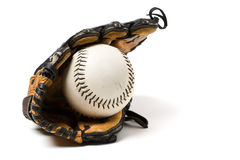 Baseball ball and glove Royalty Free Stock Photography