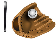 Baseball ball, glove, bat Stock Photos