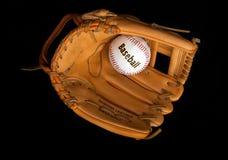 Baseball ball and glove Stock Photo