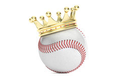 Baseball ball with gold crown, 3D rendering. On white background Stock Photos