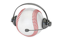 Baseball ball with headset or headphones 3D rendering. Baseball ball with headset or headphones Stock Image
