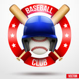 Baseball ball and helmet with ribbons Royalty Free Stock Images