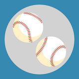 Baseball ball icon. Two white balls on a blue background. Sports Equipment. Vector Illustration. Stock Photo