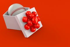 Baseball ball inside gift. Isolated on red background. 3d illustration Royalty Free Stock Images