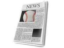 Baseball ball inside newspaper. Isolated on white background. 3d illustration Royalty Free Stock Image