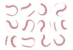 Free Baseball Ball Lace. Realistic Softball Stroke Lines For Sport Logo And Banners. Vector Set Isolated On White Royalty Free Stock Images - 155629309