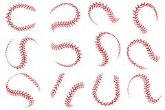Free Baseball Ball Lace. Softball Balls With Red Threads Stitches Graphic Elements, Spherical Stroke Lines Leather Sport Stock Image - 191970041