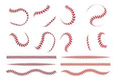 Baseball ball lace. Spherical curve and straight red stroke lines of softball ball. Vector graphic elements for sport