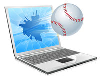 Baseball ball laptop Stock Photo